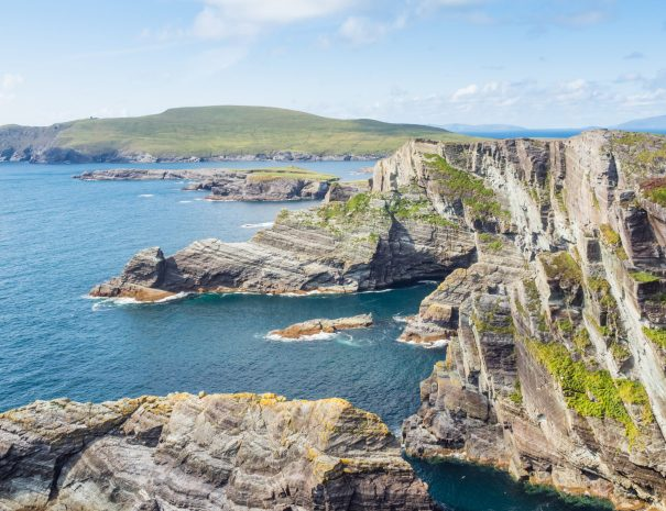 The spectacular Kerry Cliffs are located on the Skellig Coast in County Kerry in Ireland.